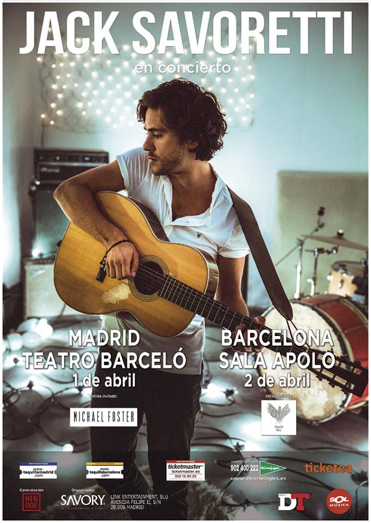 Cartel Jack Savoretti Madrid y Barcelona 2016