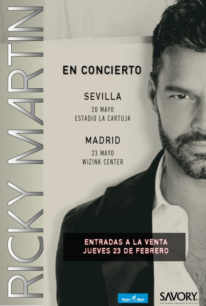 Ricky Martin actuará en Madrid y Sevilla