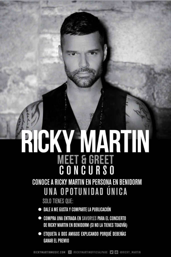 Bases Legales Concurso M&G – Ricky Martin Benidorm