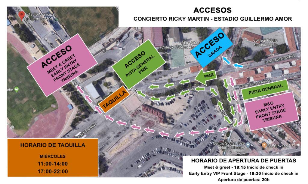 Ricky Martin Benidorm – Mapa de Accesos
